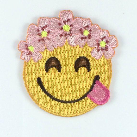 Flower Crown Emoji Patch / Iron-On by WildflowerandCompany on Etsy