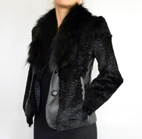 Women's Black Jacket made with Genuine Leather and Fox by lefushop