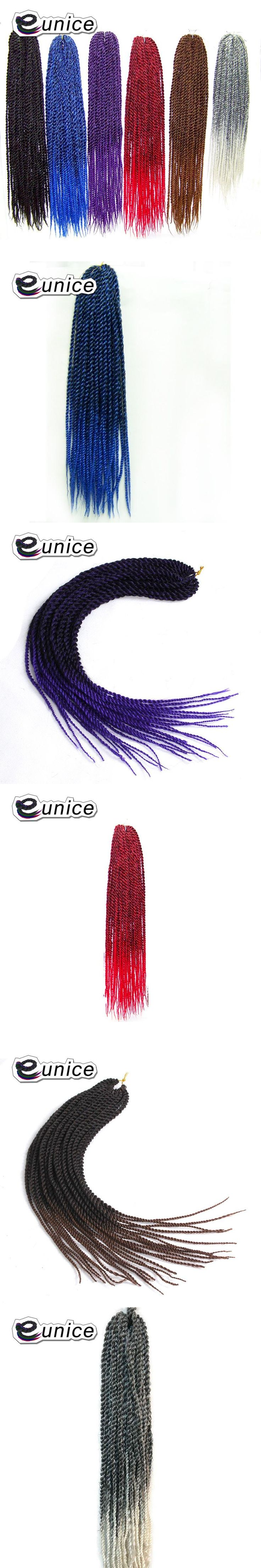 Eunice Products Pre Twist Crochet Hair Extensions 22Inch Ombre Senegalese Twist Hair Synthetic Braids T1B/#30 Colors 1-10Packs