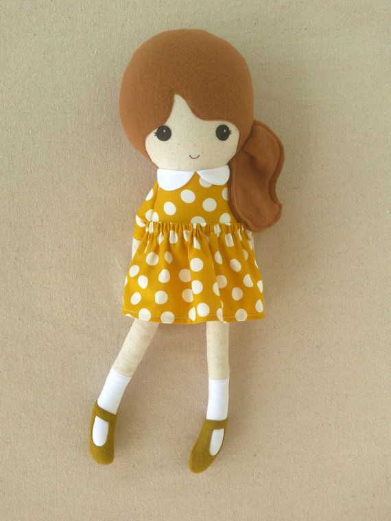 Reserved for Jennifer- Fabric Doll Rag Doll Brown Haired Girl in Golden Yellow and White Polka Dotted Dress on Etsy, $30.00