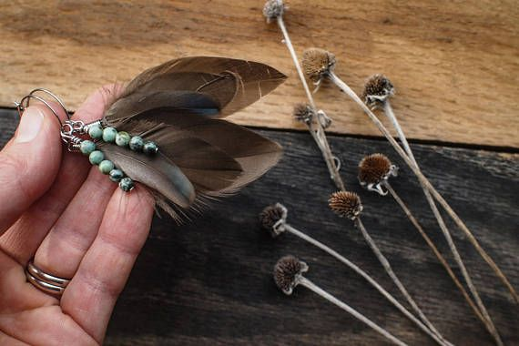 )))))Smokey Plumes((((( This set of earrings are made with collected Smokey grey Rouen duck feathers. The front little feather has a touch of iridescent green. Five turquoise beads nest within the feathers. The hoops are made of hypoallergenic stainless steel and measure 2 cm. The
