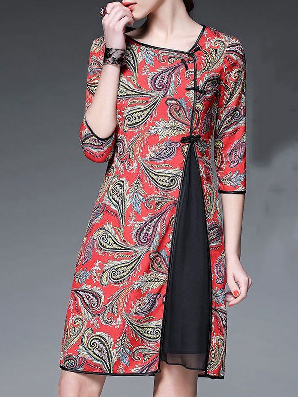 Red Paisley Crew Neck Half sleeve A-line Vintage Asymmetric Chiffon Midi Dress
