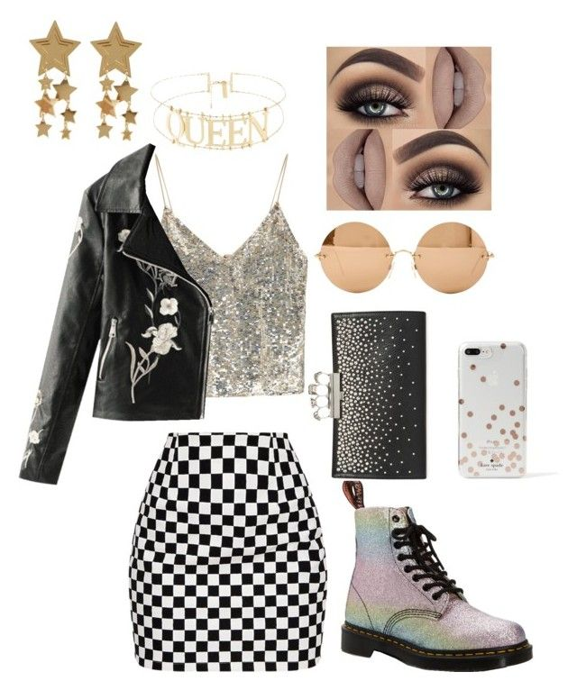 """""""New Years Night on the Town"""" by mimixai on Polyvore featuring Dr. Martens, Alexander McQueen, Alice + Olivia, Victoria Beckham and Kate Spade"""