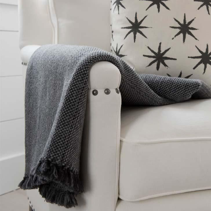 Charcoal Handwoven Cashmere Throw