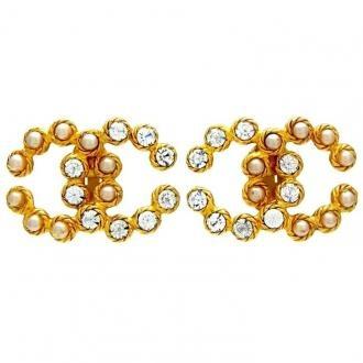 Authentic Vintage Chanel Earrings CC Logo Pearl Rhinestone