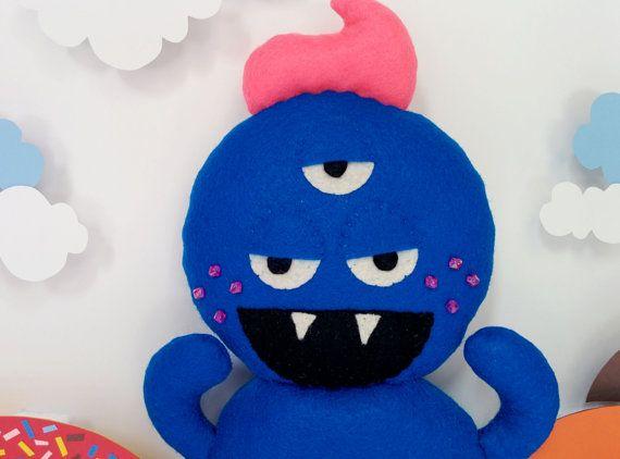 Blue Tooth Donut Monster Plush by DonutMonsterPlush on Etsy, $44.00