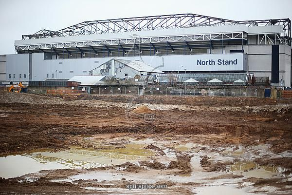 LONDON, ENGLAND - FEBRUARY 07: A general view outside the ground showing the building site for the proposed new stadium prior to the Barclays Premier League match between Tottenham Hotspur and Arsenal at White Hart Lane on February 7, 2015 in London, England