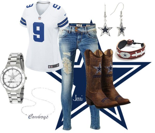 """Dallas Cowboy Fan"" by themills on Polyvore -  I'd wear everything but the boots, but only because it's my honey's team."