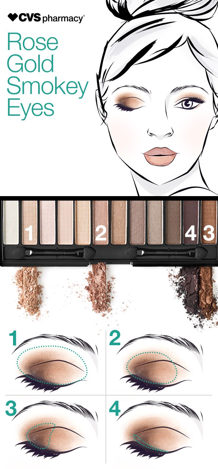 When you can't pick a shade, choose more than one! Palettes are great for the traveling beauty who needs to pack as much color as possible into one product. Pick a palette that combines more than one color to help you create maximum looks with minimal packing.  Get this rose gold look on the go with the Magnif'eyes Eye Contouring Palette from Rimmel.