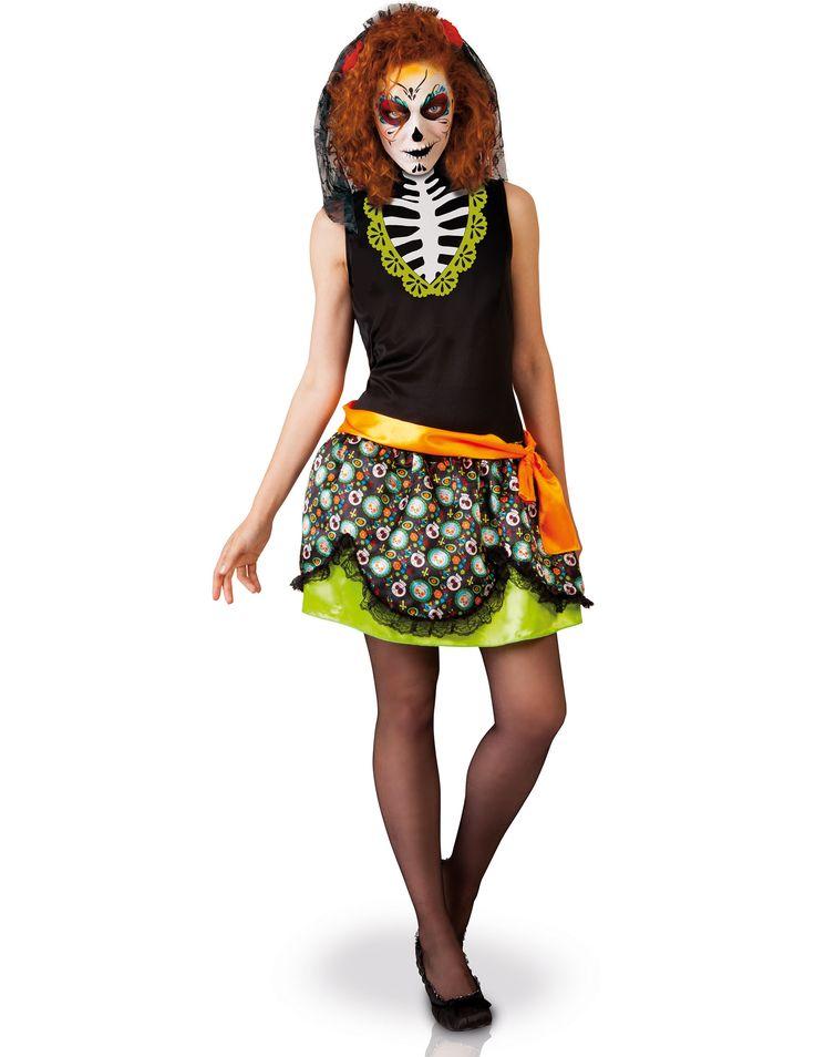 Disfraz Día de los muertos mujer Halloween: Este disfraz de el Día de los muertos para mujer incluye un vestido, un cinturón y un velo (medias y zapatos no incluidos).La falda del vestido es de color verde claro con un volante y...