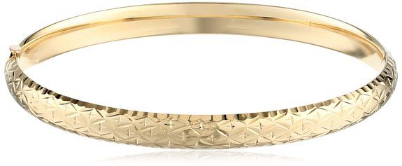 "Beautiful Gold Bracelet with a huge discount. Duragold 14k Yellow Gold Diamond-Cut Bangle Bracelet, 8"""