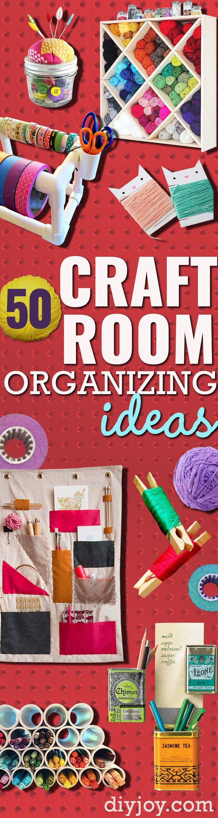 DIY hantverk rum Idéer och hantverk rum Organisation Projekt - Cool Idéer för göra det själv Craft Förvaring - tyg, papper, pennor, kreativa verktyg, hantverk leveranser och sömnad föreställningar | http://diyjoy.com/craft-room-organization
