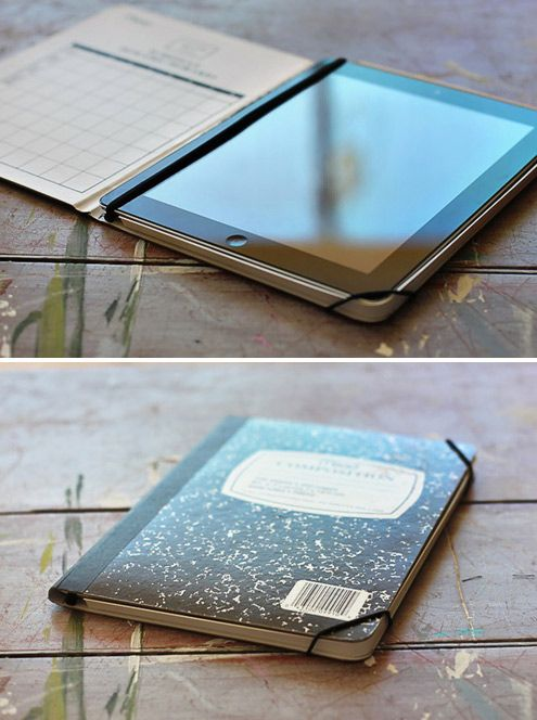 DIY - How to Make a Stylish iPad Case from a Notebook. Easy. You could do this so many different ways too. With construction paper on the outside of the composition book of even with paint.