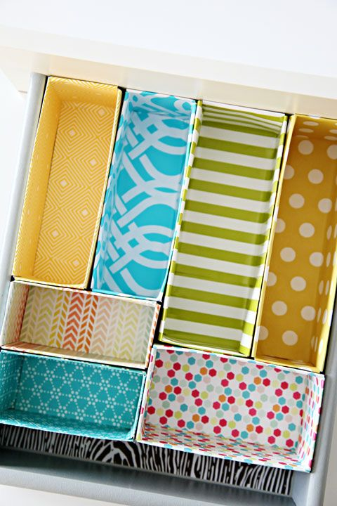 Drawer Dividers: DIY Re-purposed Cereal Boxes with fabric or washi tape coverings. Or just leave the cardboard like I would