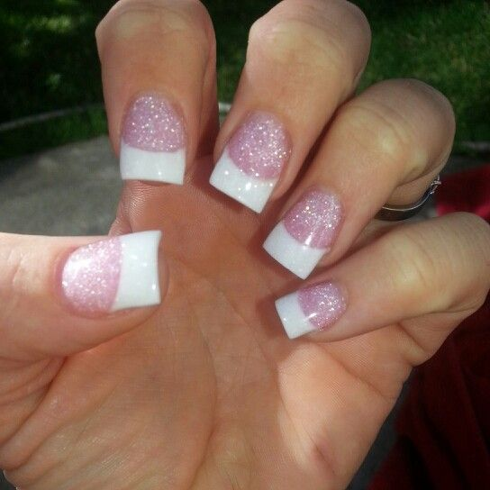 Pretty sparkle french tip#nails