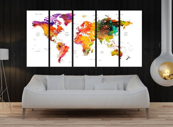 Extra Large Wall Art World Map Print Push Pin For Travel