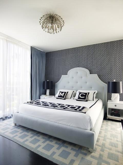 pale blue bed frame grey wall - Blue Bed Frame