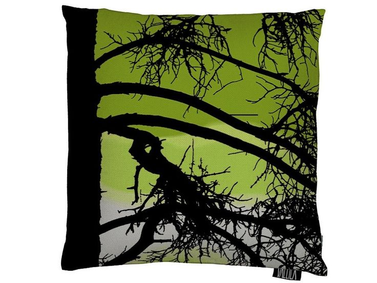 Kelohonka Dark Lime Cushion Cover - A stunning tree silhouette design with a splash of avocado green.Designed by Tanja Orsjoki, Kelohonka is one of Vallila Interiors' most popular fabrics and is now available in New Zealand exclusively through Harvey Furnishings.