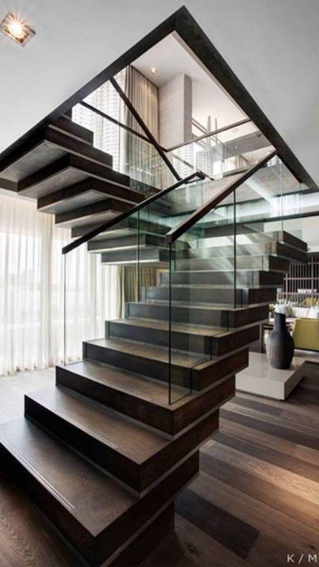 die besten 17 bilder zu stairs auf pinterest   treppe, geländer ... - Wohnung Mit Minimalistischem Weisem Interieur Design New York
