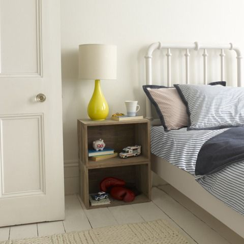 Crates as a bedside table