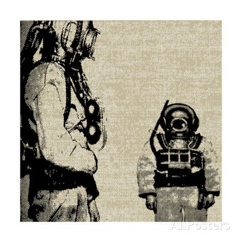Deep Sea Diver Background Posters by Petrafler
