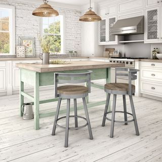 Amisco Vector Swivel Metal Barstool With Distressed Wood Seat | Overstock.com Shopping - The Best Deals on Bar Stools