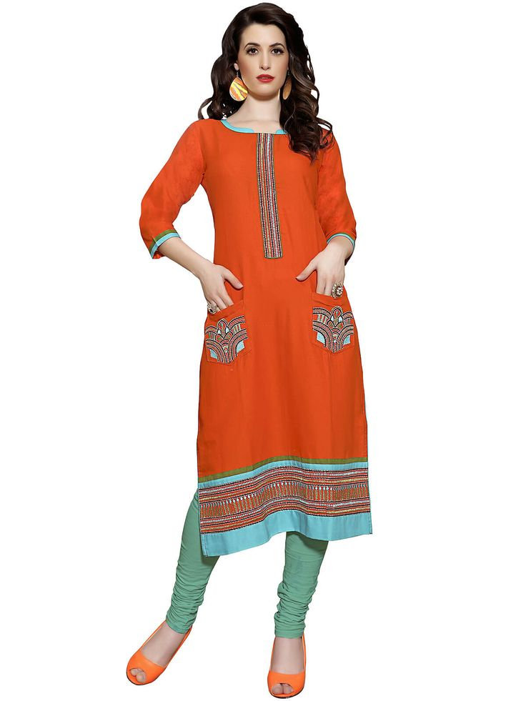 Striking orange and  sky blue casual wear cotton designer kurti. Having fabric cotton. The beautiful embroidery work on the attire adds a sign of beauty statement to your look. #mydesiwear #Kurtis #Designerkurtis #CottonKurtis #LongCasualKurtis #TrendyCasualkurtis #PrintedCasualKurti #WeddingCollection #WeddingFashion #StyleBride #WeddingTrendz #PartywearKurtis #StyleWedding