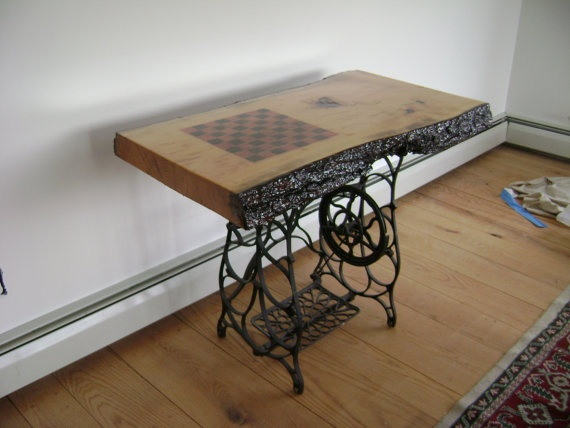 nice use of an old sewing machine base - Kitchen Table Sewing