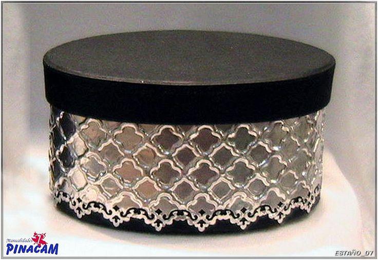 Caja decorada con aluminio for Manualidades con estano