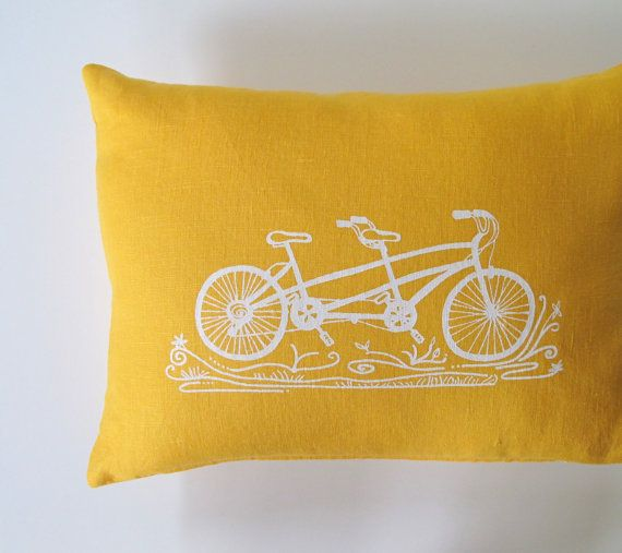 yellow and bike.Pillows Covers, Bicycles Pillows, Living Room, Bicycles Built, Tandem Bikes, Cushions Covers, Tandem Bicycles, Bedrooms Inspiration, Mustard Yellow