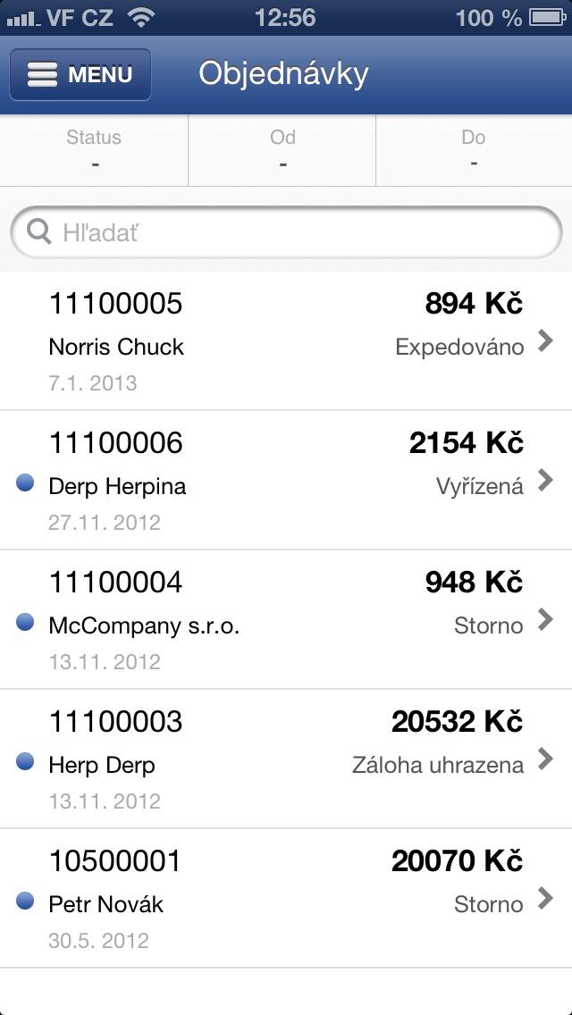 prehľad objednávok vo Flox app - iPhone 5