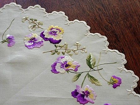 This is embroidery, but it looks like a painting; so beautiful! (Em's Heart Antique Linens -Antique Society Silk Embroidered Doily Centerpiece)