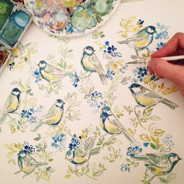 Floral watercolor painting #flowers #floral #birds #watercolor #art #painting #drawing #yellow #blue
