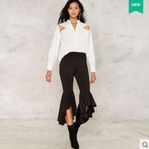 NEW-Women-039-s-Wide-Leg-High-Waist-Stretch-Slim-Fit-Bell-Bottom-Pants-Trousers-E266