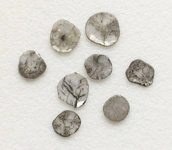 2 Pcs Rare Diamond Slice 5-7mm Natural Black & White Loose