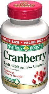 Nature's Bounty Cranberry Fruit 4200 mg / Plus Vitamin C, Softgels by Nature's Bounty. Supports a healthy urinary tract.