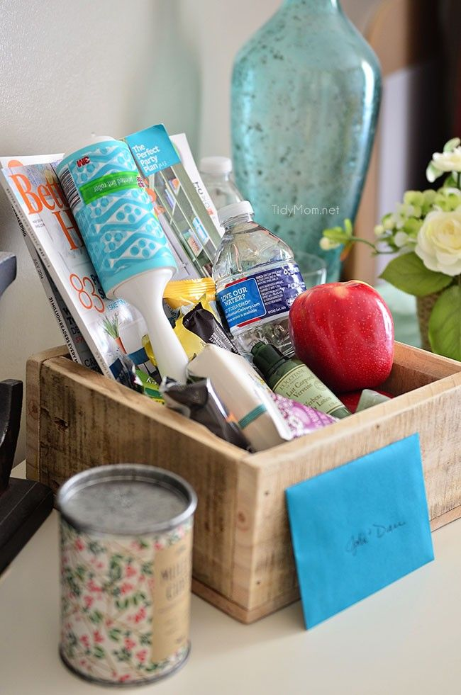 Make a Welcome Basket for overnight house guests. Provide your guests with a small basket of things they might need as well as snacks and bottled water for their room.