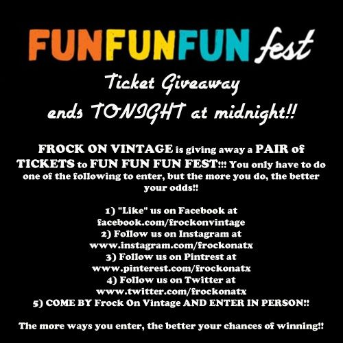 Today is the final day to enter to win a PAIR of TICKETS to FUN FUN FUN FEST!!