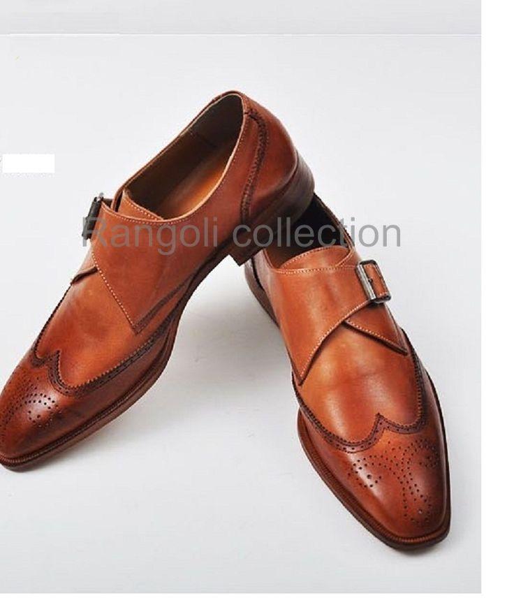 Handmade men Tan color dress shoes Mens leather monk shoes Mens formal shoes