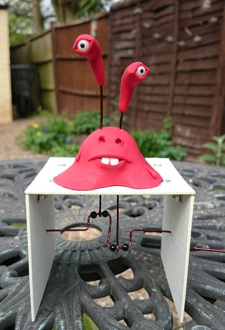 This was loads of fun to make. He's made from polymer clay, wire for the mechanism and mount board for the frame. See a video on YouTube here youtu.be/ojiHcD0Q3bI