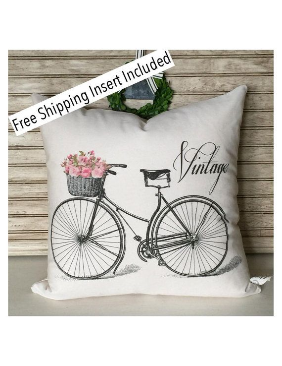 Vintage Bicycle | Bike Pillow | Shabby Chic Decor | Throw Pillow | Cottage Decor | Insert Included