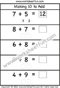 Making 10 to Add – Three Worksheets