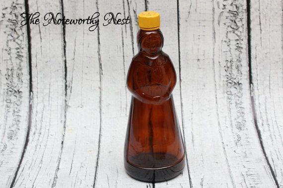 """10"""" tall Vintage tante Jemima sirop bouteille / / distributeur de savon / / Vintage bouteille / / Mme Buttersworth Bottle / / bouteille en verre brun Vintage"""
