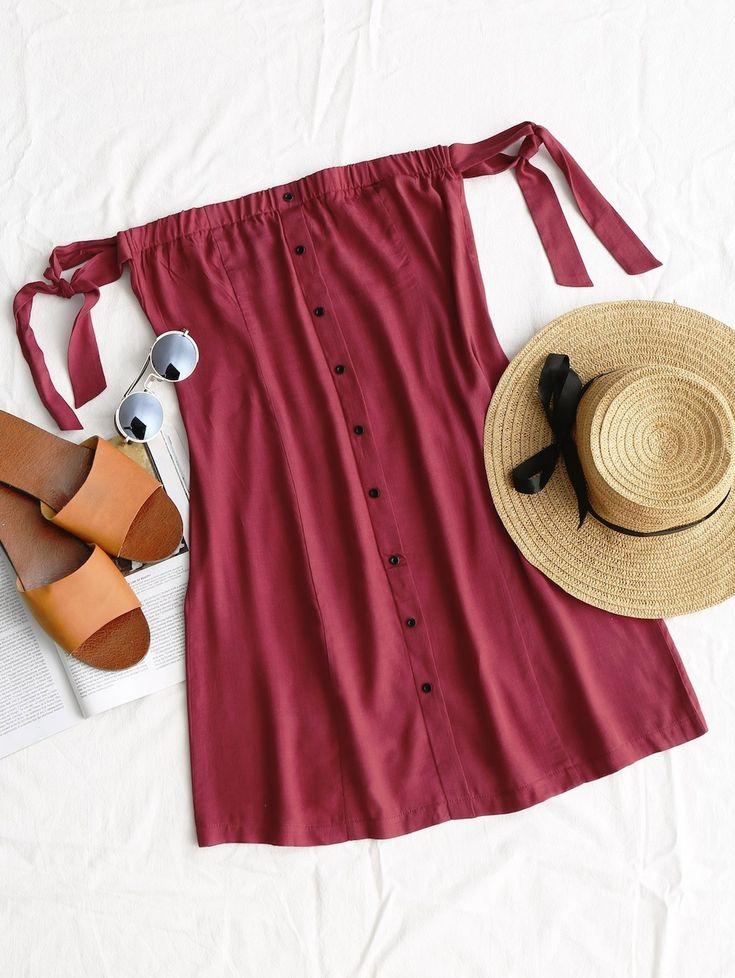 Tied Button Up Mini Dress WINE RED: Mini Dresses S | ZAFUL