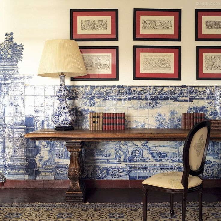 Blue And White Tile Wall