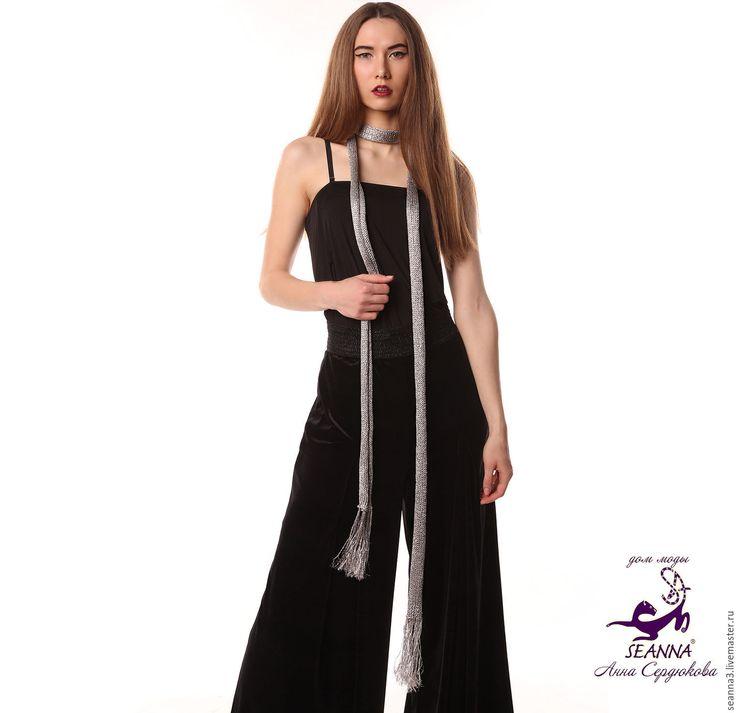 Купить Шарф-лариат - серебряный, пояс серебряный, шарф серебряный, шарф лариат, лариат