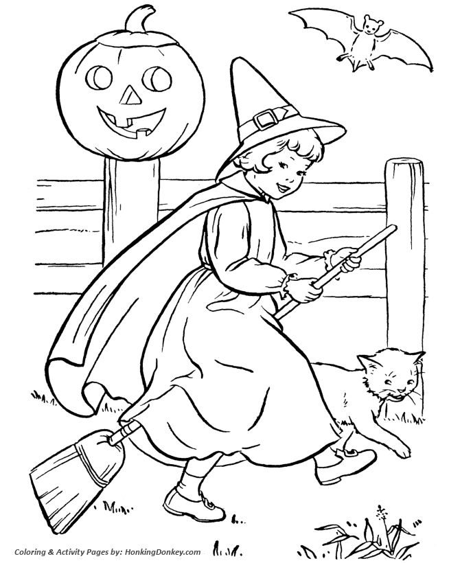 halloween witch coloring pages halloween witch girl riding her broom