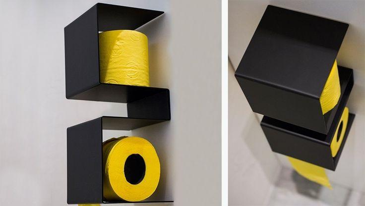 85 идей аксессуаров для ванной комнаты: создаем уют и красоту http://happymodern.ru/aksessuary-dlya-vannojj-komnaty/ Ярко-желтая туалетная бумага на черных полках выглядит контрастно и красиво