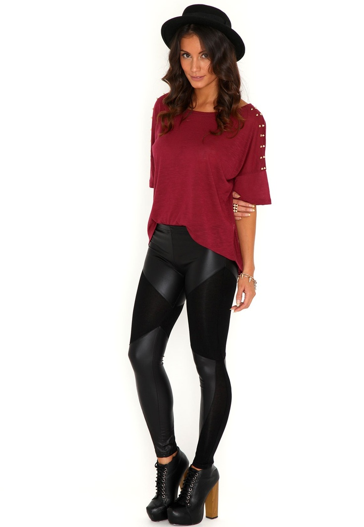 Sawyer Leather Panel Leggings @misguided