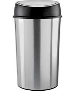 50 Litre Touch Top Kitchen Bin - Silver.